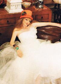 orange top hat bride
