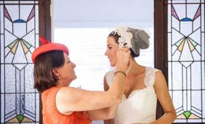 Bride and mother of the bride in Philadelphia Philpot headpieces