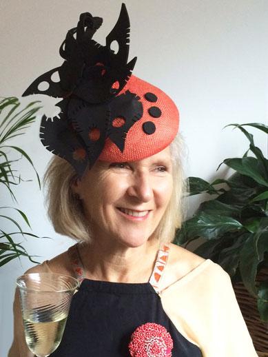 Philadelphia Philpot mother of the bride_ orange and black hat
